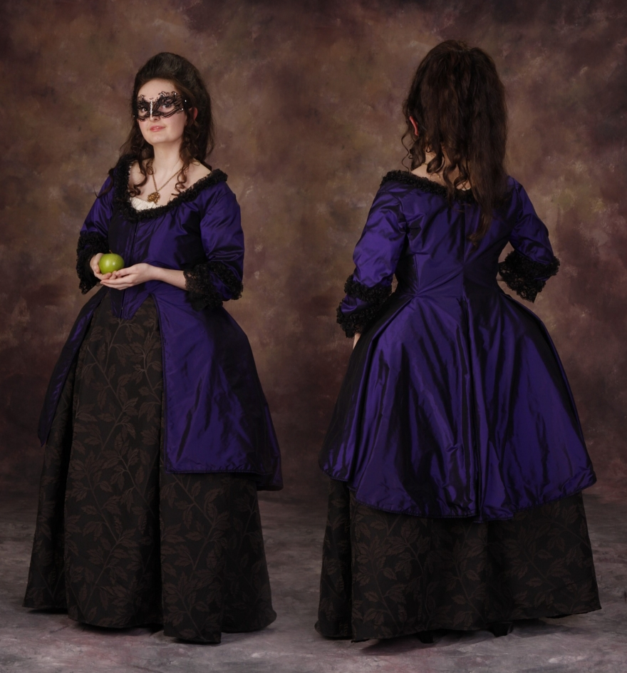 1775s Silk Caracao Jacket and Black on Black Brocade Skirt Outfit