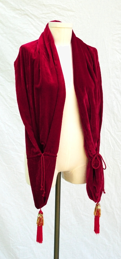 1918 Style Scarlet Silk Velvet Wrap with Hidden Pockets