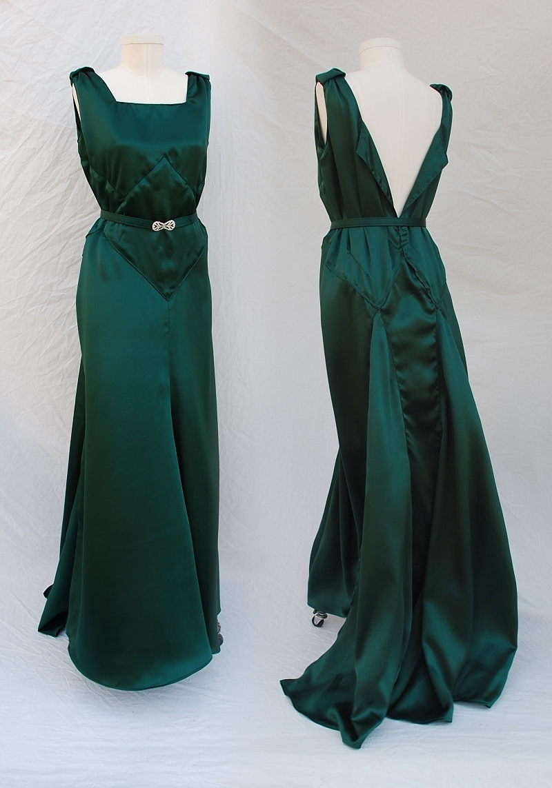 1930s Style Green Silk Satin Dress