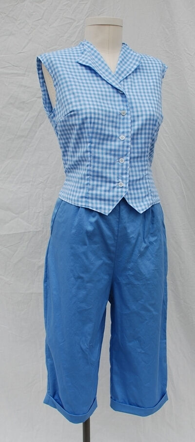 1950s Style Gingham Weskit and Blue Cotton Pedal Pushers