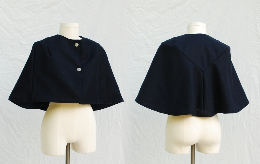 1950's Style Navy Blue Cashmere Wool Broadcloth Cape