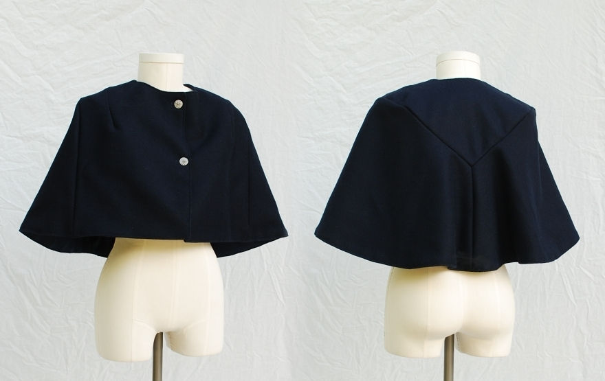 1950s Style Dark Navy Blue Wool Melton Cape