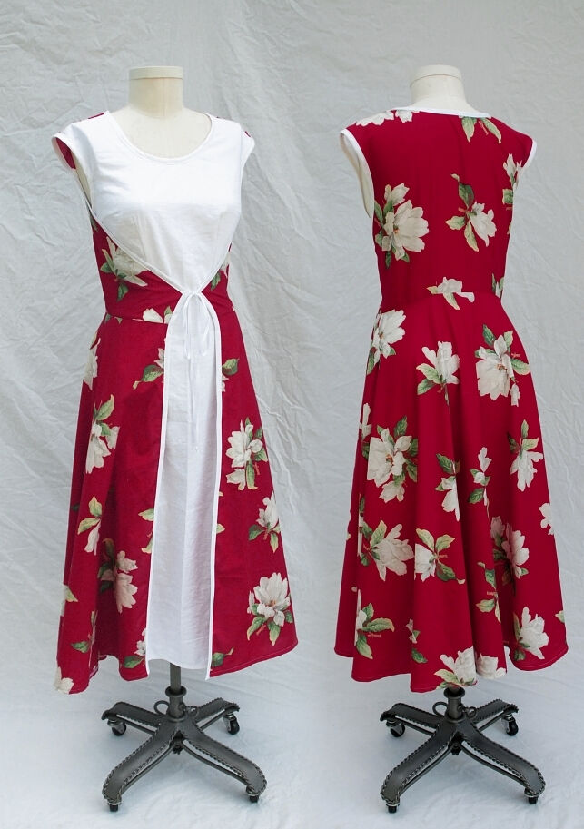 1950's Style Red Magnolia Wrap Dress