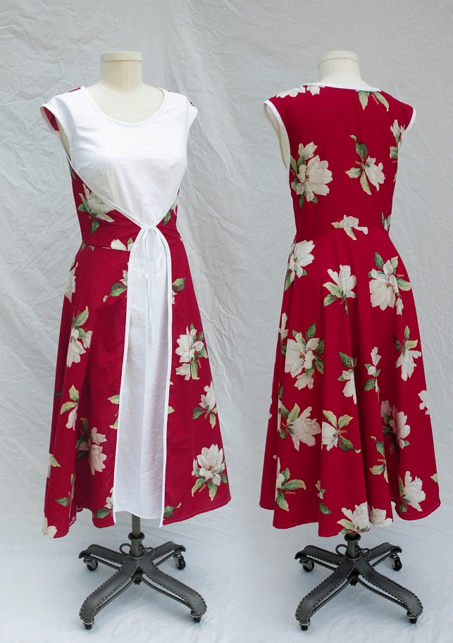 1950s Style Red Magnolia Wrap Drress