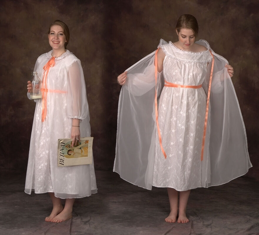 1950's Style Milk Maid Nightgown Set