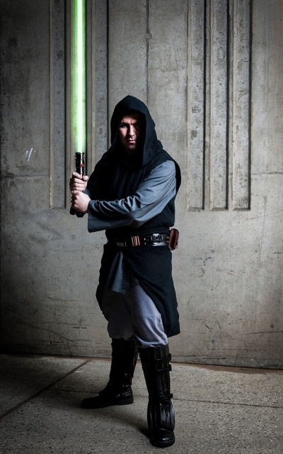 Christopher in his black cotton twill Sith style robe