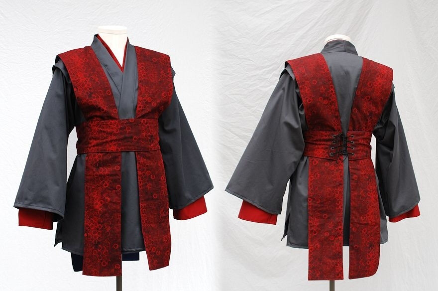 Custom Grey and Red Tunic Set