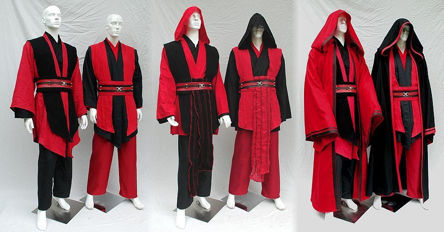 Custom ordered mix and match red and black sith costumes