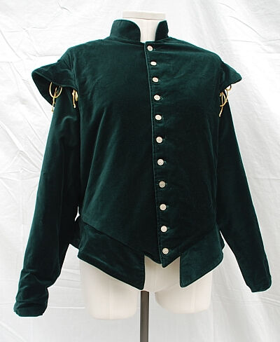 Dark Green Cotton Velvet Doublet with Sleeves