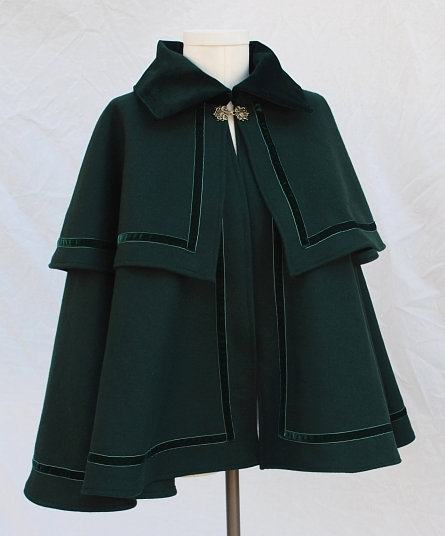 Dark Green Wool Melton Victorian Caroling Cape