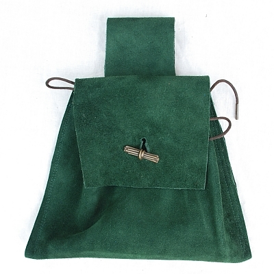 Dark Green Suede Button Bag