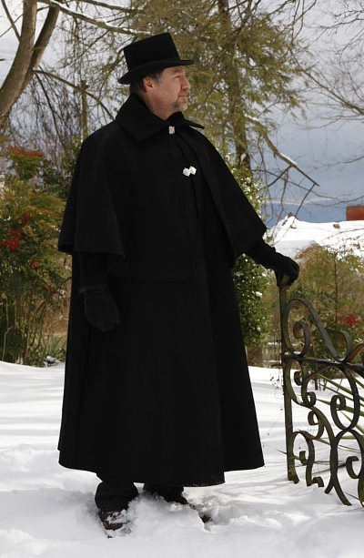 Black Wool Melton Dickensian or Inverness Caroling Cape