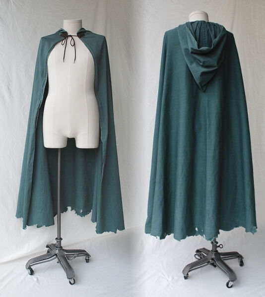 Distressed Hunter Green Cotton Twill Ranger Style Cloak