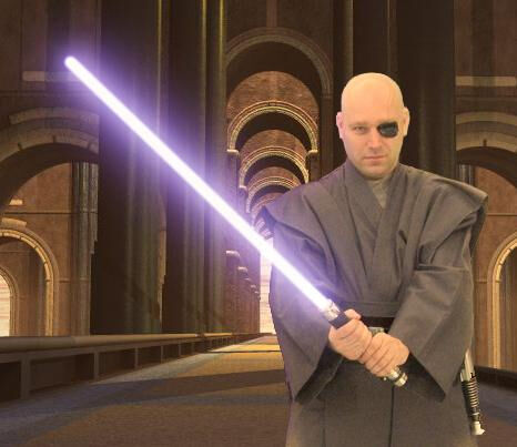 Eliot in his custom created grey jedi ensemble