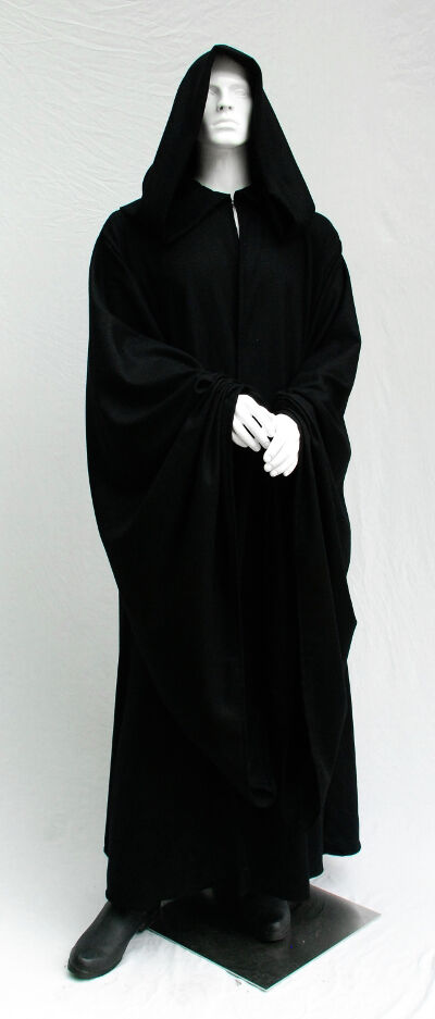 Emperor Style Black Basketwoven Wool Robe