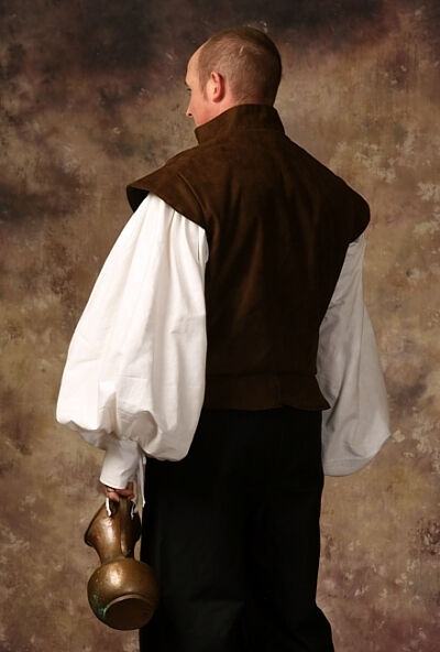 Brown Faux Suede and Cotton Twill Renaissance Doublet