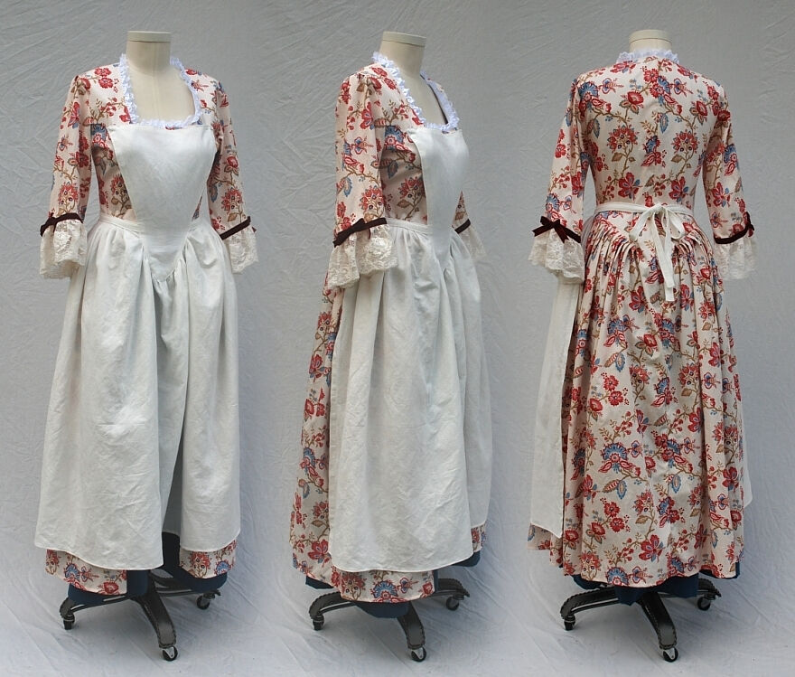 Floral Print Revolutionary War Gown with Linen Pinner Apron