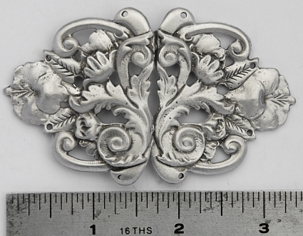 Flowers and Leaves Pewter Cloak Clasp