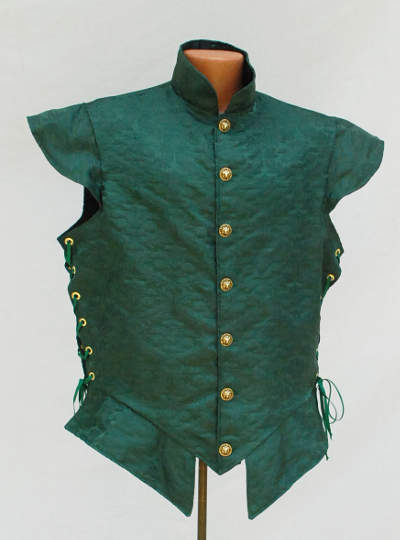 Green Brocade Doublet with Side Lacing