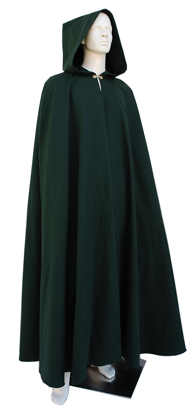 Green Cotton Twill Cloak with Full Hood