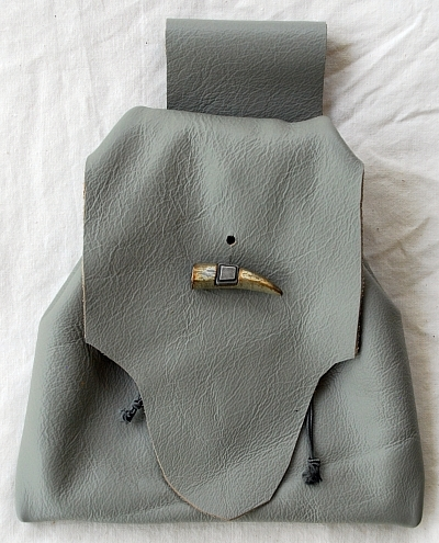 Grey Leather Button Bag with Faux Antler Toggle