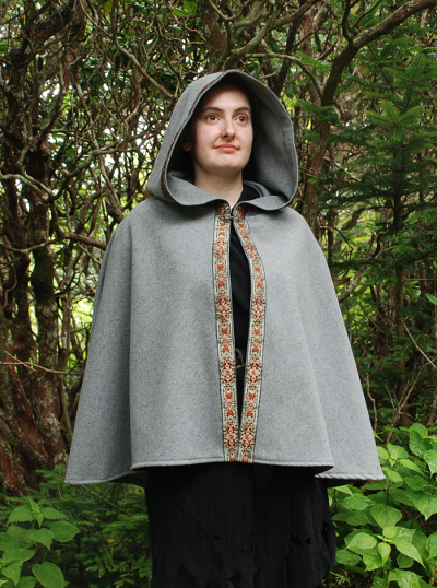 Grey Wool Broadcloth Short Cape