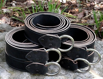 Black Leather Ring Belts