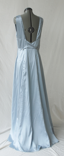 Ice Blue Silk Satin 1930s Style Dress