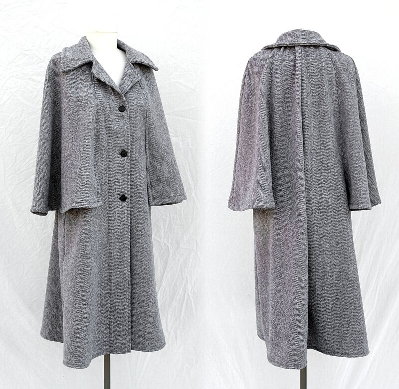 Ladies Herringbone Wool Vintage Style Mod Cloak