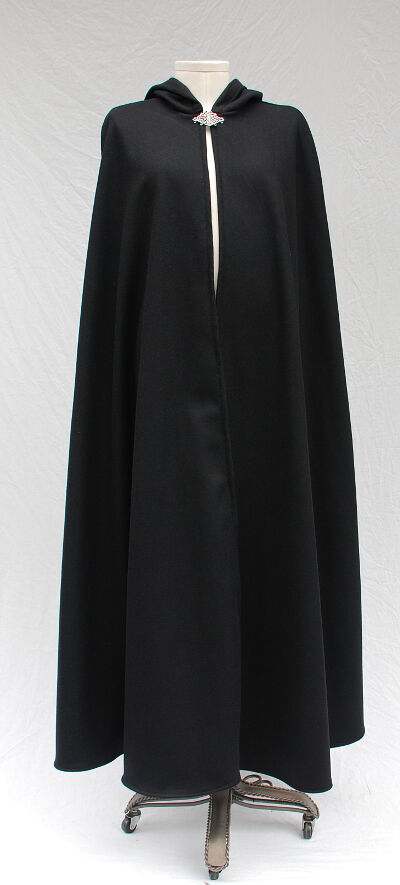Lighter Weight Black Wool Melton Cloak