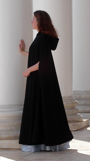 Lined Black Wool Melton Cloak