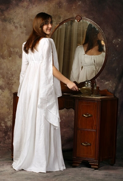 Hankerchief Weight White Linen Romantic Nightgown