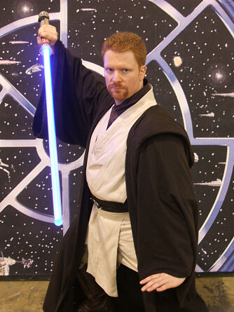 Jedi Logan Kell of FxSabers.com in his custom Jedi style costume
