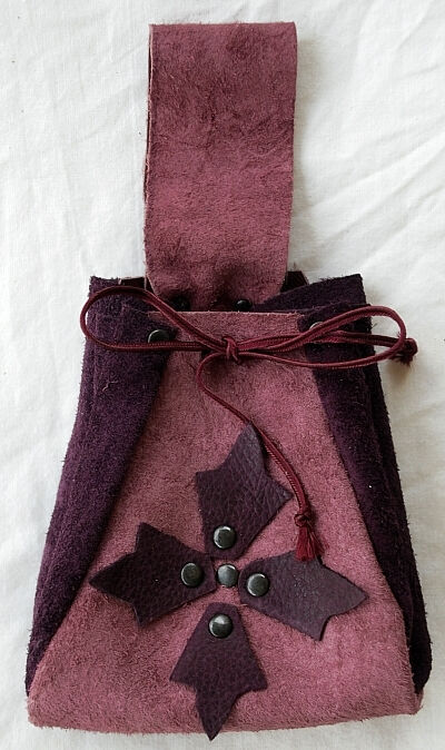 Maroon and Dusty Rose Suede Leather Pouch