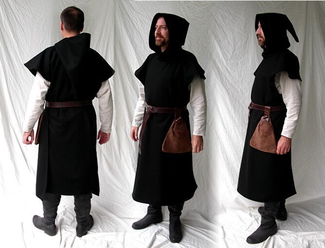Medieval Ganache or Garnache Surcoat in Black Wool Melton