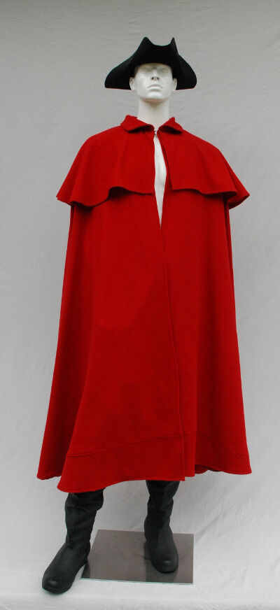 Mens Red Wool Revolutionary War Style Cloak
