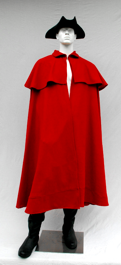 Mens Revolutionary War Style Red Washed Wool Flannel Cloak