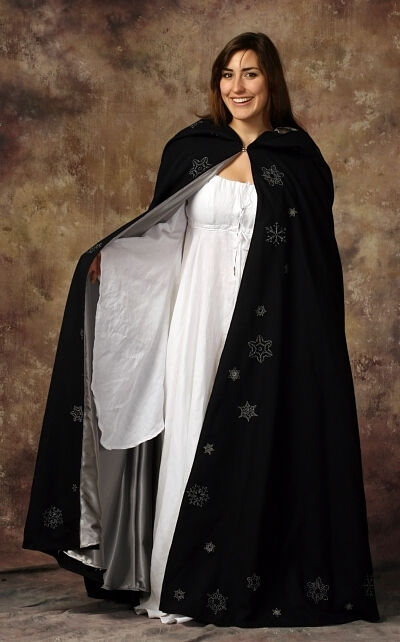 The Embroidered Snowflake Wearable Art Cloak