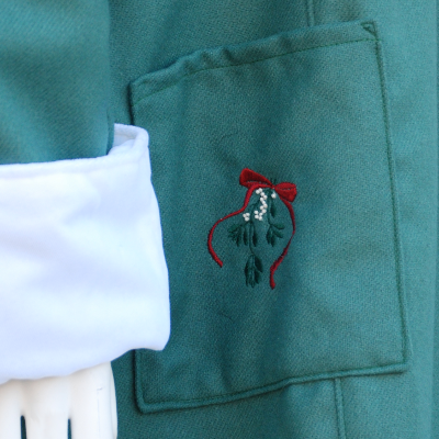 Mistletoe Embroidered Sage Wool Coat Pocket Detail