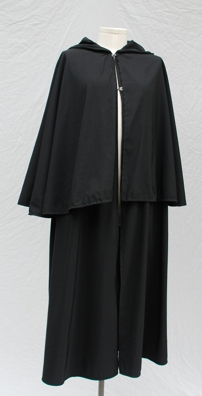 Black Modified Inverness Style Nylon Rain Cloak