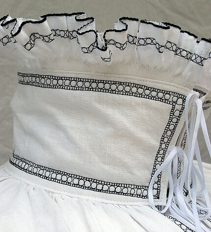 Neck Collar Embroidery and Pleating Detail