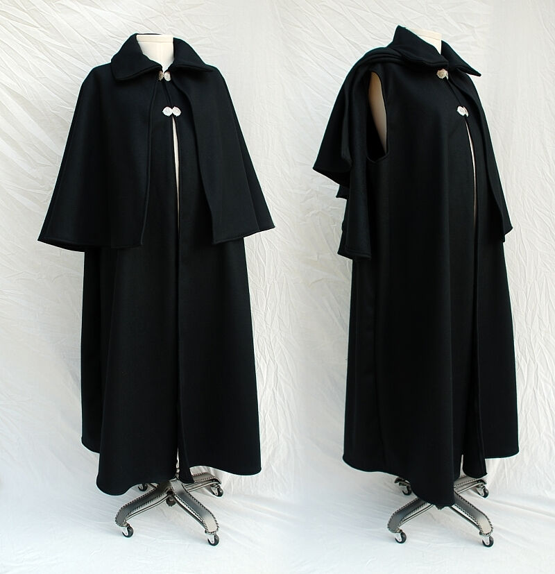 Black Melton Wool Dickensian or Inverness Cape