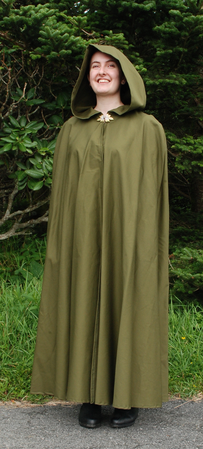 Olive Twill Ranger Cloak with Leaf Clasp