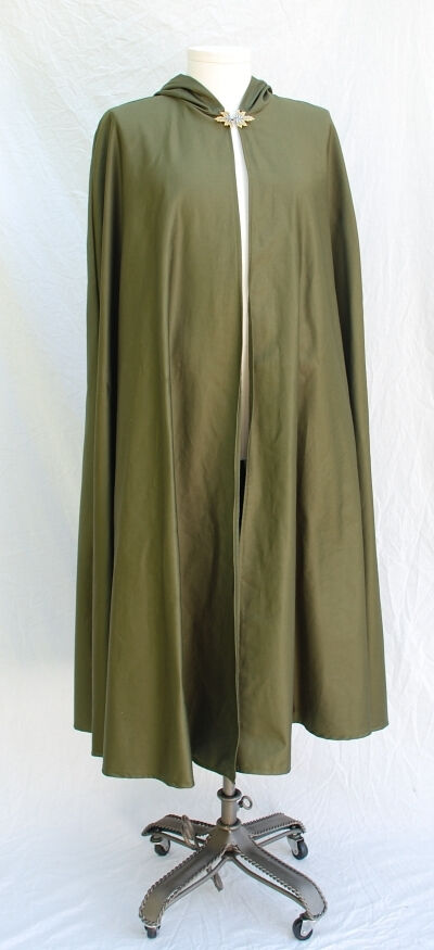 Olive Cotton Twill Ranger Cloak with Leaf Clasp