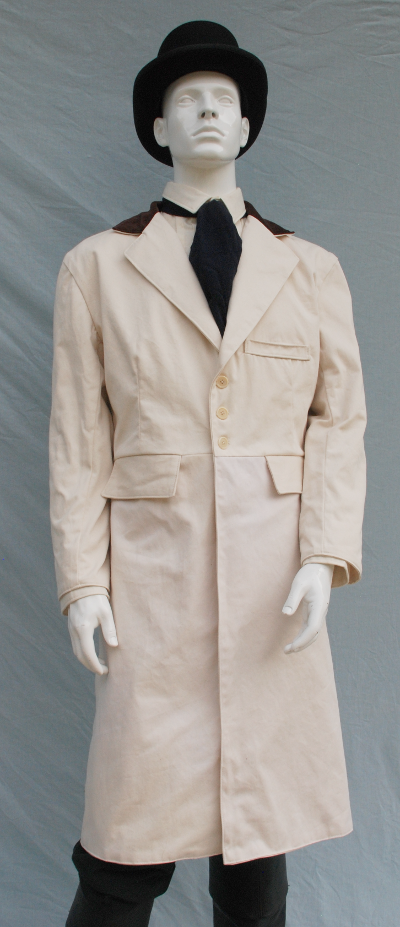 Ivory Organic Cotton Twill Frock Coat with Brown Cotton Velvet Collar