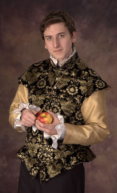 Painted Black and Gold Velvet Doublet