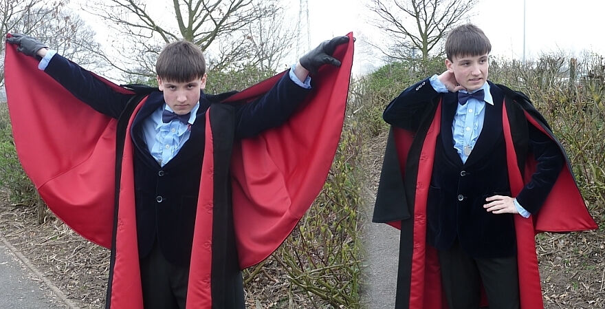 John Pertwee Style Red Lined Dr. Who Cloak