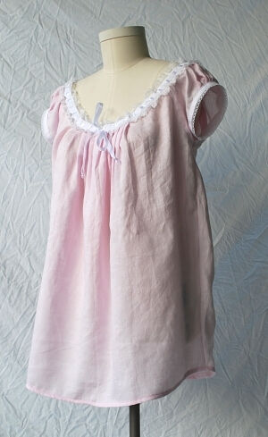 Pink Linen Victorian Chemise
