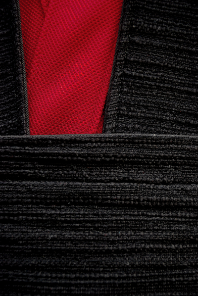 Red Knitwear Tunic and Black Textured Cotton Surcoat Set Detail