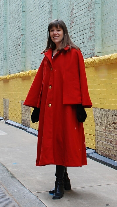 Red Wool Melton Mod Cloak
